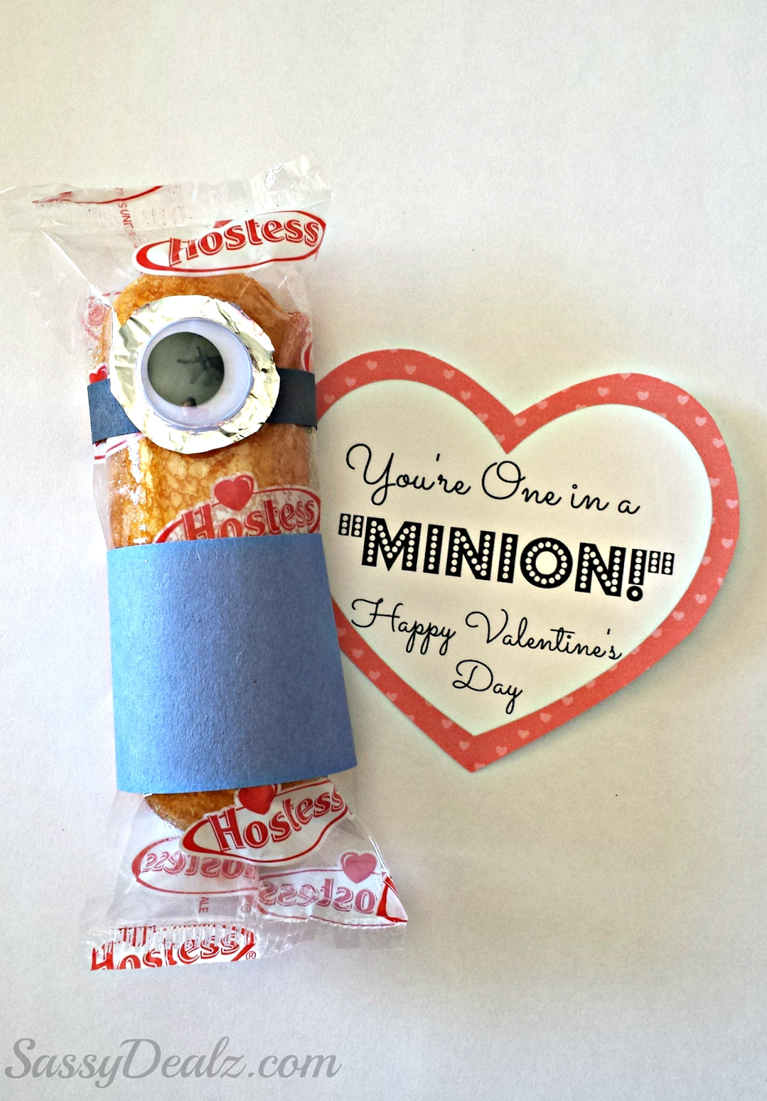 Despicable Me Youre One in a Minion Twinkie Valentines Day – Valentine Card Ideas with Candy