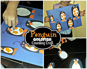 Penguin GoldFish Cracker Counting to 5 Activity & Craft For Kids (Preschoolers)