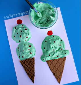 Puffy Paint Ice Cream Cone Craft for Kids