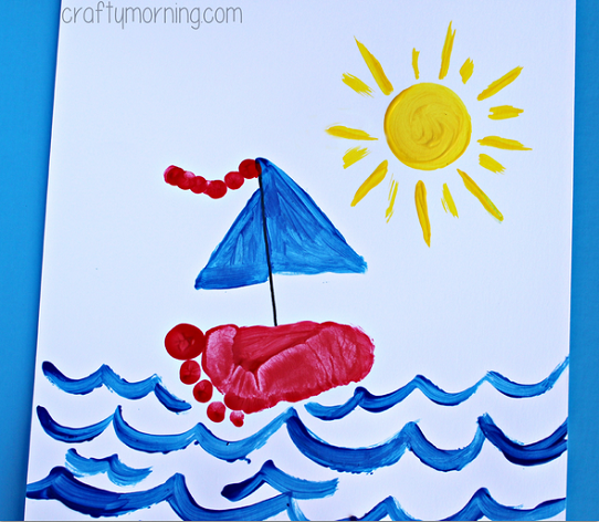 Footprint sailboat craft for kids to make crafty morning for Hand and foot crafts