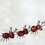 Santa's Sleigh w/ Flying Reindeer Fingerprint Craft For Kids