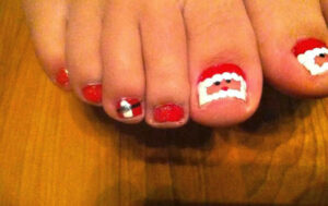 DIY Santa Clause Toe Nail Design For Christmas