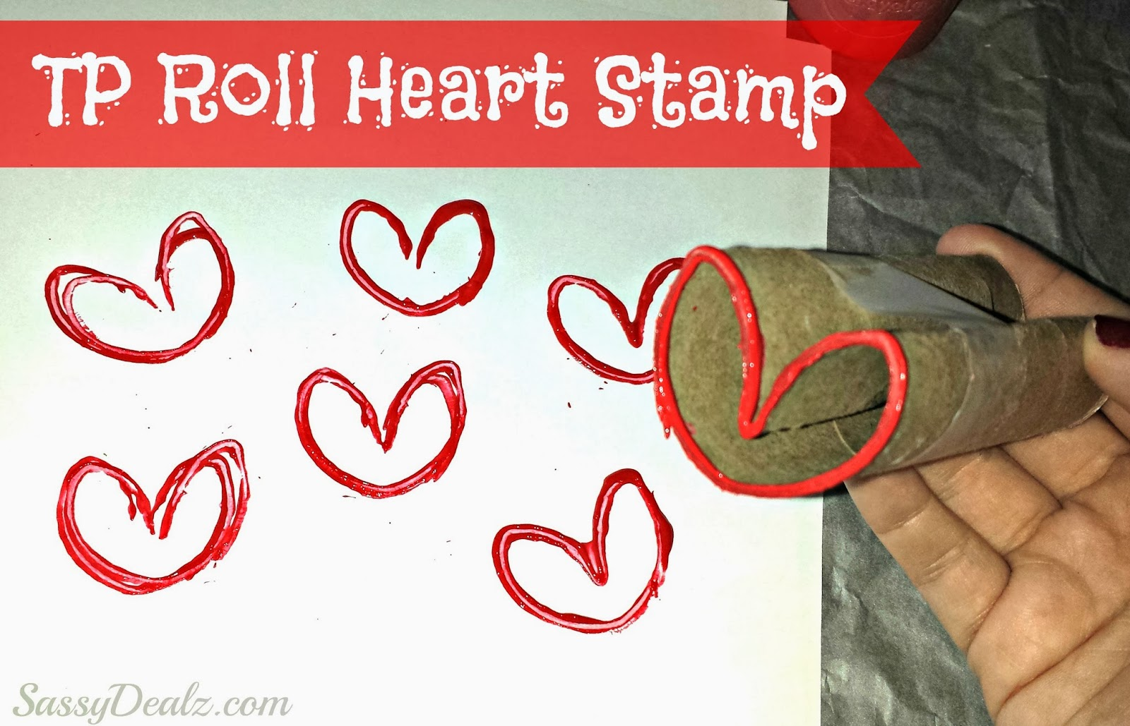Diy Heart Stamp Using Toilet Paper Rolls Kids Valentines