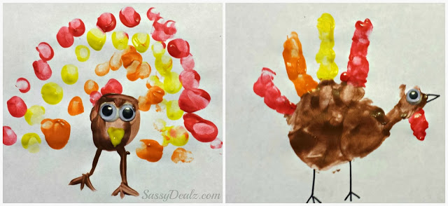 Fingerprint & Handprint Turkey Crafts For Kids on Thanksgiving