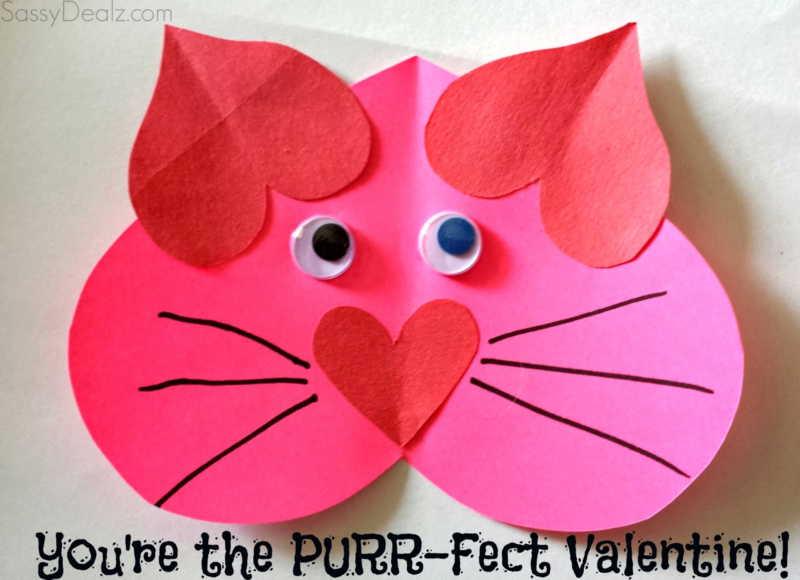 Valentine Heart Cat Craft For Kids Youre The PURRFect – Cat Valentine Card