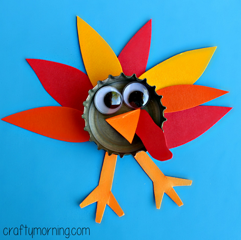 Bottle cap turkey craft for kids to make crafty morning for Thanksgiving turkey arts and crafts