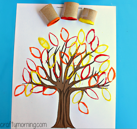 Toilet paper roll leaf stamping fall tree craft crafty for Painting toilet paper rolls