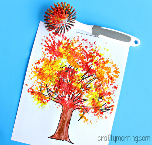 fall-tree-craft-using-a-dish-brush