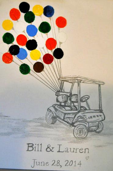 golf-cart-fingerprint-wedding-guestbook-idea