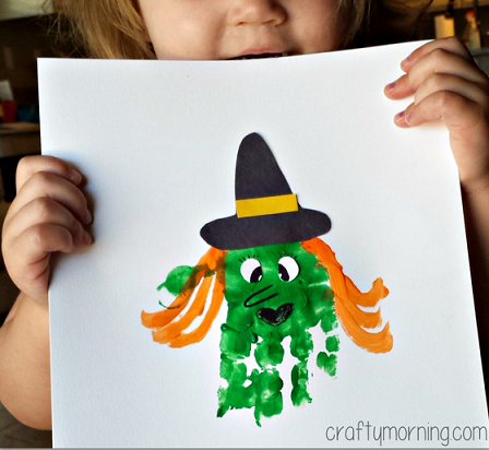 Handprint witch craft for kids to make crafty morning for Hand and feet painting ideas