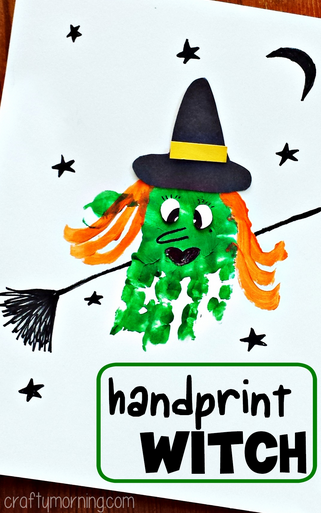 halloween handprint and footprint art handprint witch craft for to make crafty morning 6671