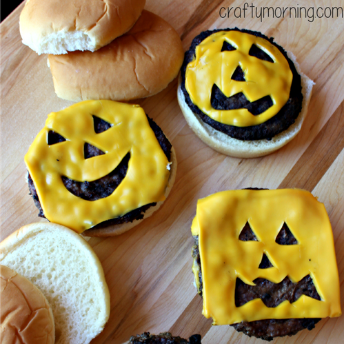 Halloween Hamburgers.Jack O Lantern Pumpkin Cheeseburgers For Kids Crafty Morning