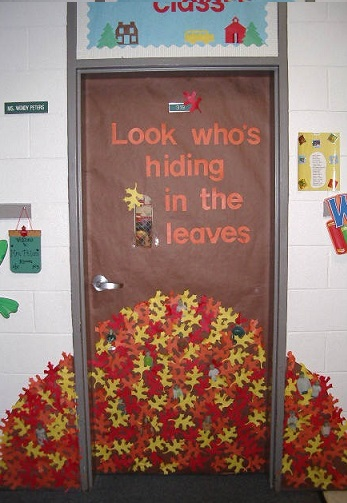 Fall Into Learning Door Decoration Look Whos Hiding In The Leaves Classroom Door