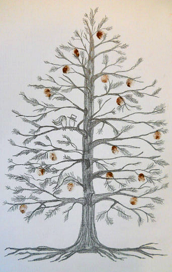 pinecone-tree-fingerprint-wedding-guestbook-idea