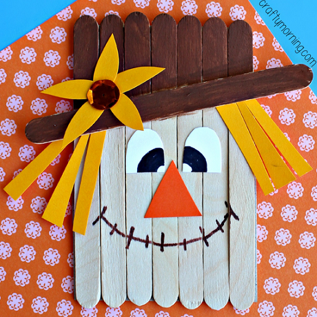 Popsicle Stick Scarecrow Craft For Kids Crafty Morning