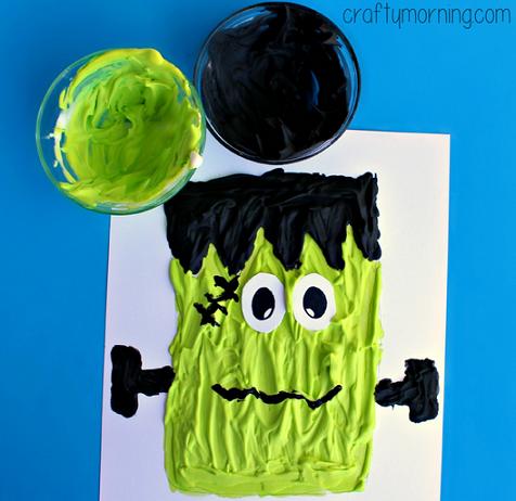 Puffy Paint Frankenstein Craft for Kids