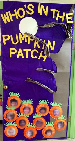 pumpkin patch classroom door decoration