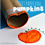 Toilet Paper Roll Pumpkin Stamp Craft for Kids