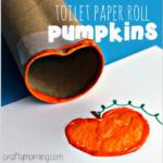 Toilet Paper Roll Pumpkin Stamp Craft for Kids