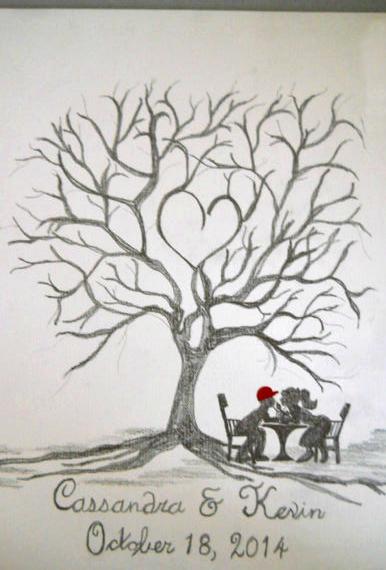 Tree Fingerprint Wedding Guestbook Idea