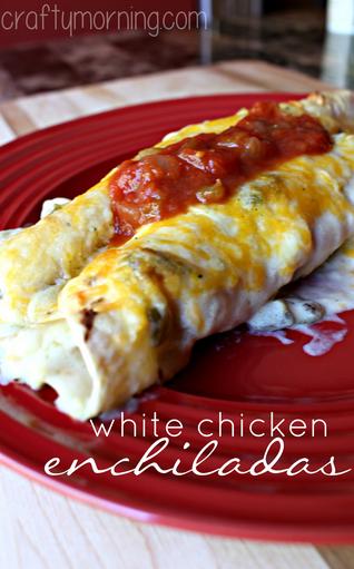 White Chicken Enchilada Recipe (Chile & Sour Cream Sauce) - Crafty ...
