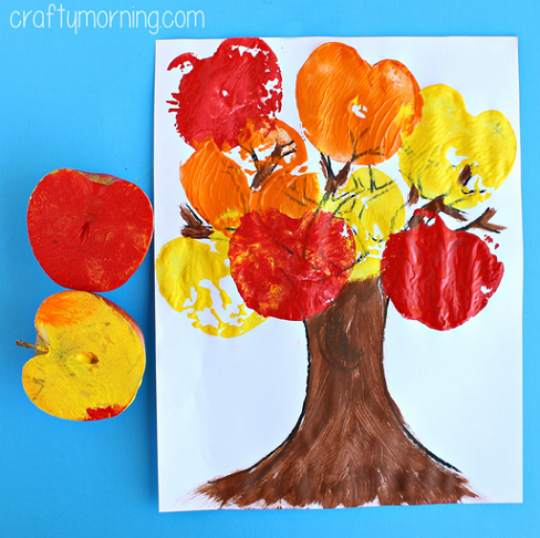 Apple stamping tree craft for kids to make crafty morning for November arts and crafts for daycare