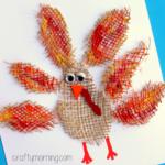 Burlap Turkey Craft for Thanksgiving