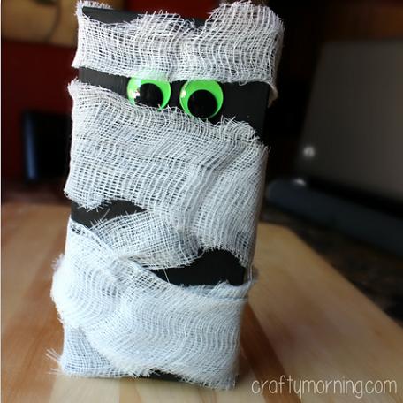 Cheesecloth Mummy Craft Using A Macaroni Box Crafty Morning