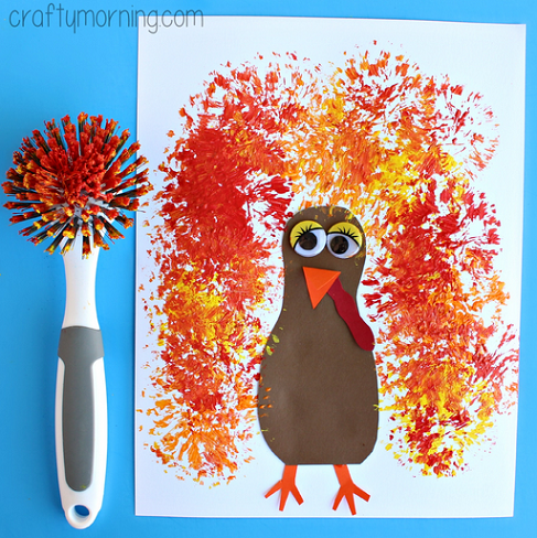 Dish brush turkey craft for thanksgiving crafty morning for Thanksgiving craft ideas for kindergarten