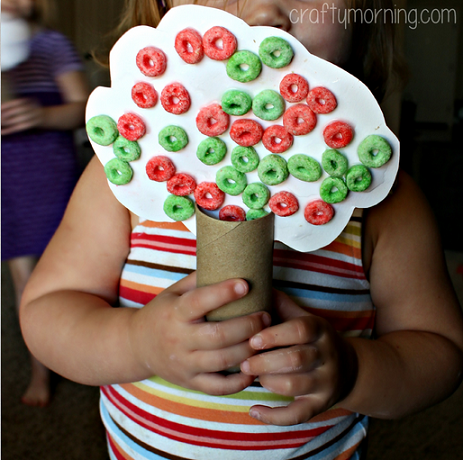 Toilet paper roll fall tree craft using fruit loops for How to make a tree out of toilet paper rolls