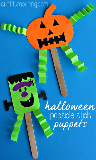 Halloween Popsicle Stick Puppet Craft For Kids