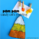 Candy Corn Craft using Pom Poms to Paint