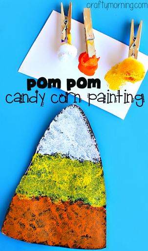 Candy corn craft using pom poms to paint crafty morning for Fast drying paint for crafts