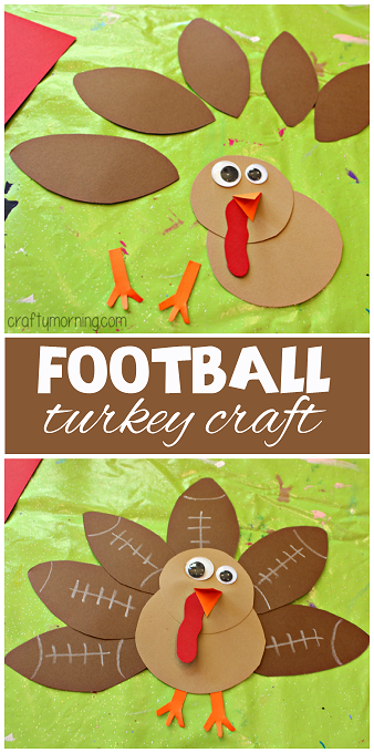 Football turkey craft for kids to make crafty morning for Thanksgiving turkey arts and crafts