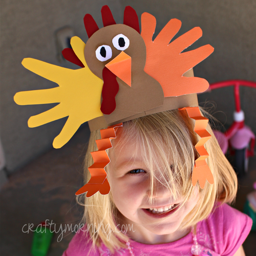 Handprint turkey hat for a thanksgiving craft crafty morning for Thankful crafts for kids
