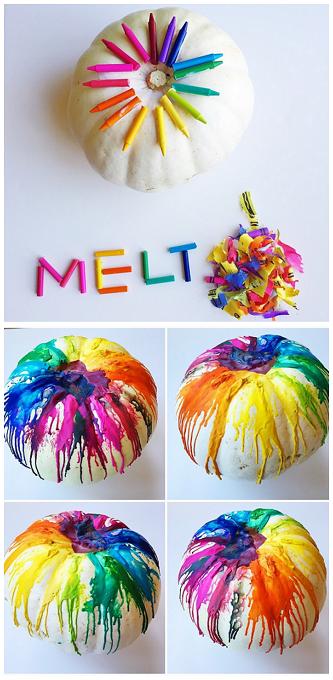 melted crayon pumpkin craft - Pumpkin Decorating Ideas