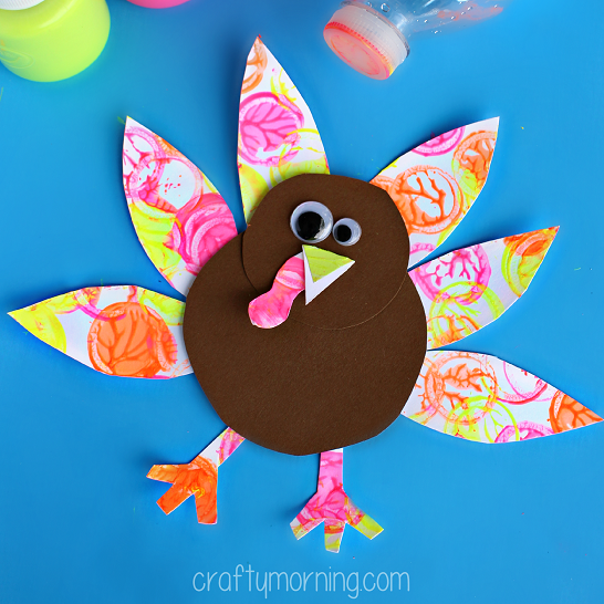 Neon turkey craft for kids bottle cap painting crafty for Thanksgiving crafts for infants