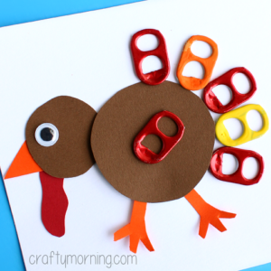 Pop Can Tab Turkey Craft for Thanksgiving