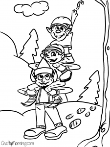 free elves printable coloring page - Christmas Coloring Pages To Print Free