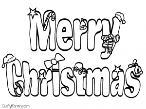 Merry Christmas Bubble Letter Coloring Page