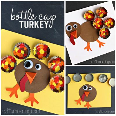Painted Bottle Cap Turkey Craft for Thanksgiving