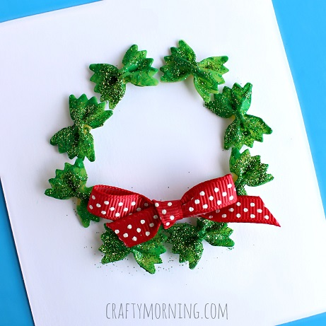 bow tie noodle wreath christmas craft for kids - Craft Christmas
