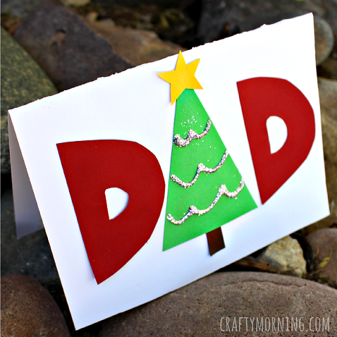 Make a homemade christmas card for dad crafty morning for Christmas ideas for christmas cards