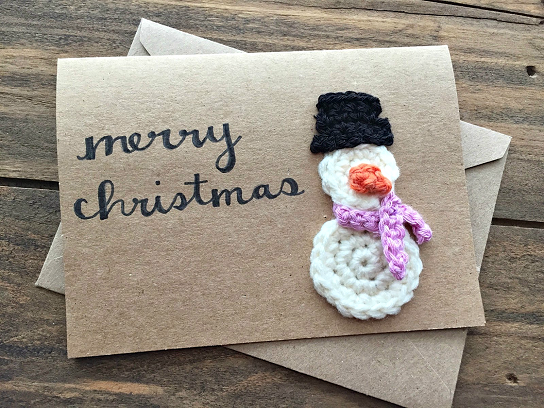 Snowman Christmas Cards Ideas.Crochet Snowman Christmas Card Idea Crafty Morning