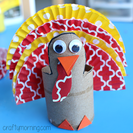 Cupcake Liner Turkey Craft Using Cardboard Tubes