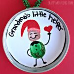 """Little Helper"" Fingerprint Elf Ornament for Kids to Make"