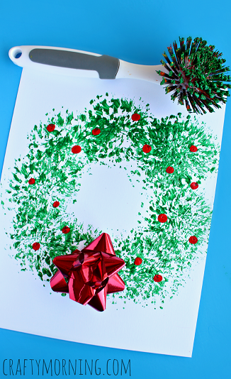 Dish brush christmas wreath craft for kids crafty morning for Christmas crafts for pre schoolers