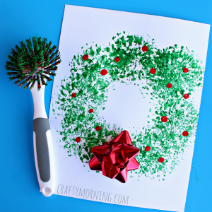 Dish Brush Christmas Wreath Craft for Kids