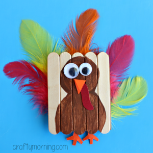 Cute Mini Popsicle Stick Turkey Craft