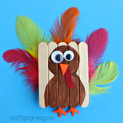 Cute mini popsicle stick turkey craft crafty morning for How to make popsicle stick crafts